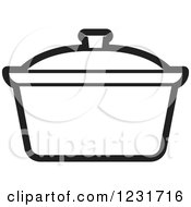 Clipart Of A Black And White Pot Icon Royalty Free Vector Illustration