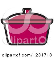 Clipart Of A Dark Pink Pot Icon Royalty Free Vector Illustration