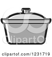 Clipart Of A Grey Pot Icon Royalty Free Vector Illustration
