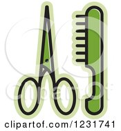 Clipart Of A Green Scissors And A Comb Icon Royalty Free Vector Illustration by Lal Perera