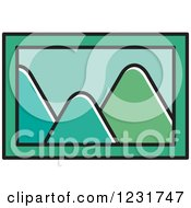 Clipart Of A Green Mountain Picture Icon Royalty Free Vector Illustration