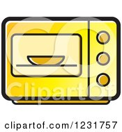 Clipart Of A Yellow Microwave Icon Royalty Free Vector Illustration