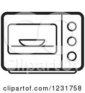 Clipart Of A Black And White Microwave Icon Royalty Free Vector Illustration