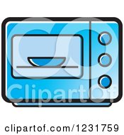 Clipart Of A Blue Microwave Icon Royalty Free Vector Illustration