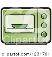 Clipart Of A Green Microwave Icon Royalty Free Vector Illustration