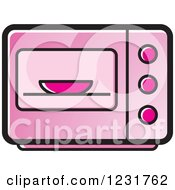 Clipart Of A Pink Microwave Icon Royalty Free Vector Illustration