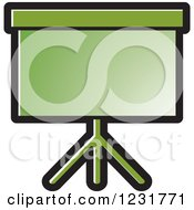 Clipart Of A Green Projector Screen Icon Royalty Free Vector Illustration