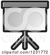 Clipart Of A Gray Projector Screen Icon Royalty Free Vector Illustration