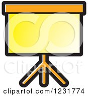 Clipart Of A Yellow Projector Screen Icon Royalty Free Vector Illustration