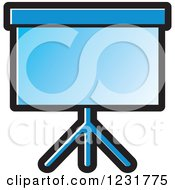 Clipart Of A Blue Projector Screen Icon Royalty Free Vector Illustration