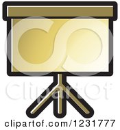Clipart Of A Gold Projector Screen Icon Royalty Free Vector Illustration