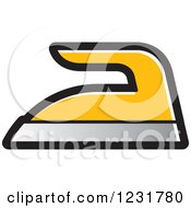 Clipart Of A Yellow Iron Icon Royalty Free Vector Illustration