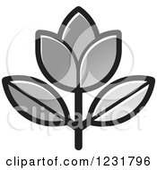 Clipart Of A Silver Flower Icon Royalty Free Vector Illustration