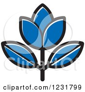 Clipart Of A Blue Flower Icon Royalty Free Vector Illustration