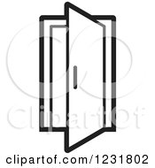 Clipart Of A Black And White Open Door Icon Royalty Free Vector Illustration by Lal Perera