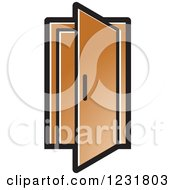 Clipart Of A Brown Open Door Icon Royalty Free Vector Illustration by Lal Perera