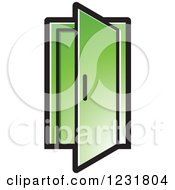Clipart Of A Green Open Door Icon Royalty Free Vector Illustration by Lal Perera