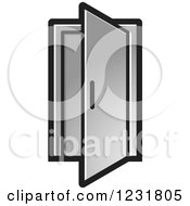 Clipart Of A Silver Open Door Icon Royalty Free Vector Illustration by Lal Perera