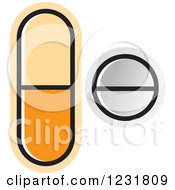 Clipart Of An Orange And White Pills Icon Royalty Free Vector Illustration