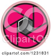 Clipart Of A Pink Photography Lens Aperture Icon Royalty Free Vector Illustration