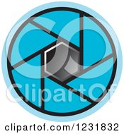 Clipart Of A Blue Photography Lens Aperture Icon Royalty Free Vector Illustration