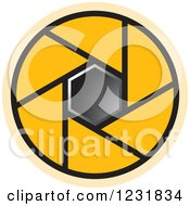 Clipart Of A Yellow Photography Lens Aperture Icon Royalty Free Vector Illustration by Lal Perera