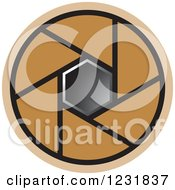 Clipart Of A Brown Photography Lens Aperture Icon Royalty Free Vector Illustration by Lal Perera