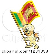 Clipart Of A Patriotic Lion Holding A Sri Lanka Flag Royalty Free Vector Illustration by Lal Perera