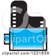 Clipart Of A Blue Film Roll Icon Royalty Free Vector Illustration