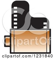 Clipart Of A Brown Film Roll Icon Royalty Free Vector Illustration