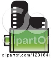 Clipart Of A Green Film Roll Icon Royalty Free Vector Illustration by Lal Perera