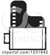 Clipart Of A Black And White Film Roll Icon Royalty Free Vector Illustration by Lal Perera