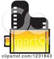 Clipart Of A Yellow Film Roll Icon Royalty Free Vector Illustration by Lal Perera
