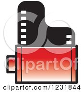 Clipart Of A Red Film Roll Icon Royalty Free Vector Illustration by Lal Perera