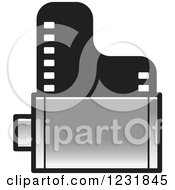 Clipart Of A Silver Film Roll Icon Royalty Free Vector Illustration by Lal Perera