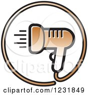 Clipart Of A Brown Hair Blow Dryer Icon Royalty Free Vector Illustration by Lal Perera