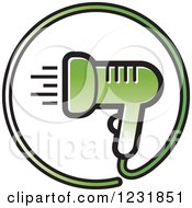 Clipart Of A Green Hair Blow Dryer Icon Royalty Free Vector Illustration by Lal Perera