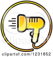 Clipart Of A Yellow Hair Blow Dryer Icon Royalty Free Vector Illustration by Lal Perera