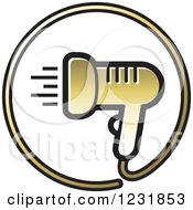 Clipart Of A Gold Hair Blow Dryer Icon Royalty Free Vector Illustration by Lal Perera