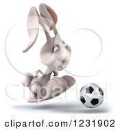 Clipart Of A 3d White Rabbit Playing Soccer 4 Royalty Free Illustration by Julos