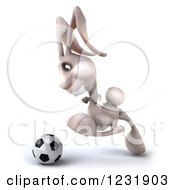 Clipart Of A 3d White Rabbit Playing Soccer 5 Royalty Free Illustration by Julos