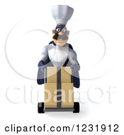 Clipart Of A 3d Super Chef Moving Boxes On A Dolly 3 Royalty Free Illustration