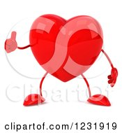 Clipart Of A 3d Red Heart Character Holding A Thumb Up Royalty Free Illustration