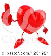 Clipart Of A 3d Thumg Up Red Heart Character Royalty Free Illustration