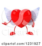 Clipart Of A 3d Presenting Red Winged Heart Royalty Free Illustration by Julos