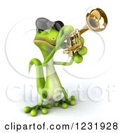 Clipart Of A 3d Green Gecko In Sunglasses Playing A Trumpet 3 Royalty Free Illustration