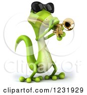 Clipart Of A 3d Green Gecko In Sunglasses Playing A Trumpet Royalty Free Illustration