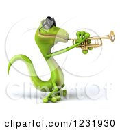 Clipart Of A 3d Green Gecko In Sunglasses Playing A Trumpet 2 Royalty Free Illustration