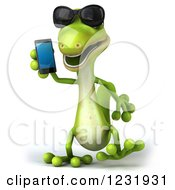 Clipart Of A 3d Green Gecko Wearing Sunglasses And Talking On A Smart Phone Royalty Free Illustration