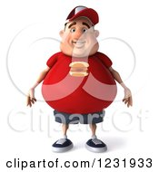 Clipart Of A 3d Chubby Guy In A Red Burger Shirt Royalty Free Illustration